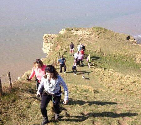Ed Evans walking along the cliffs at Nash Point