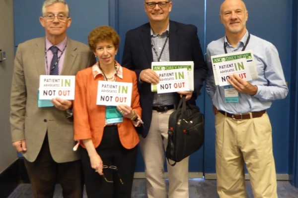 ASCO 2015 Gordon Oliver, Kathy Oliver, Markus Wartenberg, Geoffrey Henning Patients In Not Out in the Patient Advocacy Lounge P1000082_half