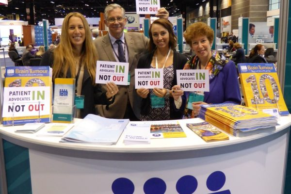 ASCO 2015 Patients In Not Out IBTA Booth Carrie, Kathy Gordon and Kacey_half