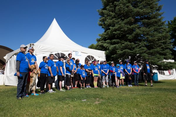 Brain tumour survivors gather for a picture before the Brain Tumour Walk event in London, Ontario